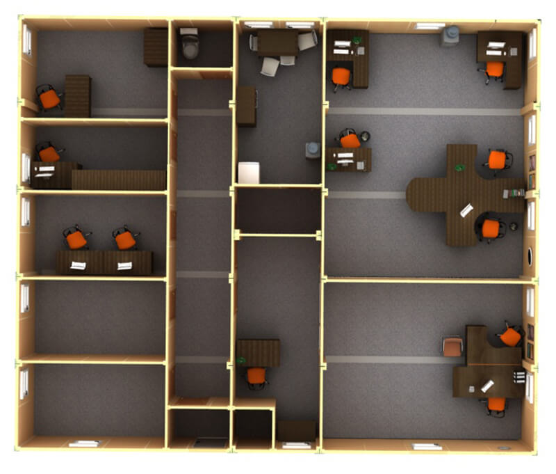 Планировка модульного офиса