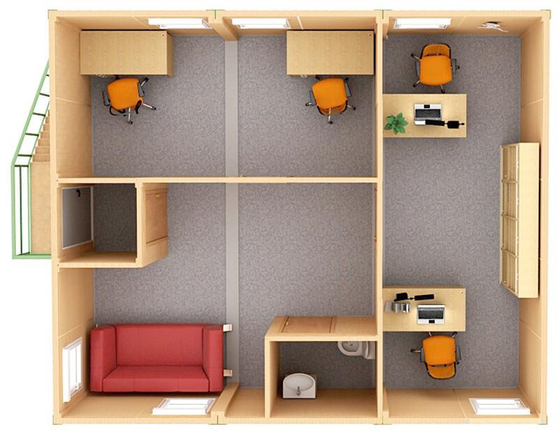 Модульный офис внутри